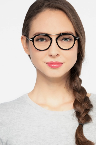 Terminal One Black Gunmetal Acetate Eyeglass Frames for Women from EyeBuyDirect, Front View