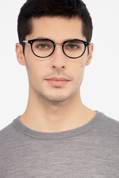 Fetching Black Golden Acetate Eyeglass Frames for Men from EyeBuyDirect, Front View