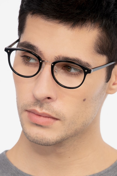 Fetching Black Golden Acetate Eyeglass Frames for Men from EyeBuyDirect