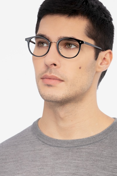 Fetching Black Golden Acetate-metal Eyeglass Frames for Men from EyeBuyDirect, Front View