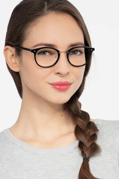Fetching Black Golden Acetate Eyeglass Frames for Women from EyeBuyDirect, Front View