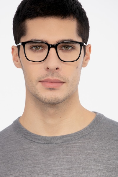 Morrow Black Acetate Eyeglass Frames for Men from EyeBuyDirect, Front View