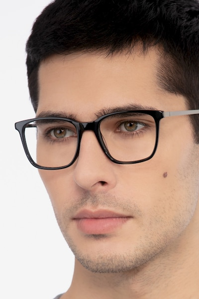 Morrow Black Acetate Eyeglass Frames for Men from EyeBuyDirect