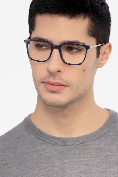 Morrow Navy Metal Eyeglass Frames for Men from EyeBuyDirect, Front View