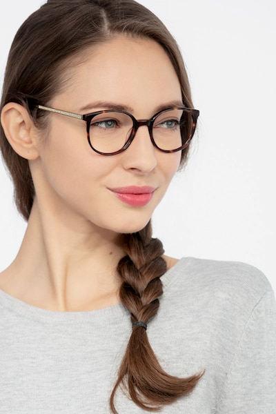 Lucy Tortoise Acetate Eyeglass Frames for Women from EyeBuyDirect, Front View