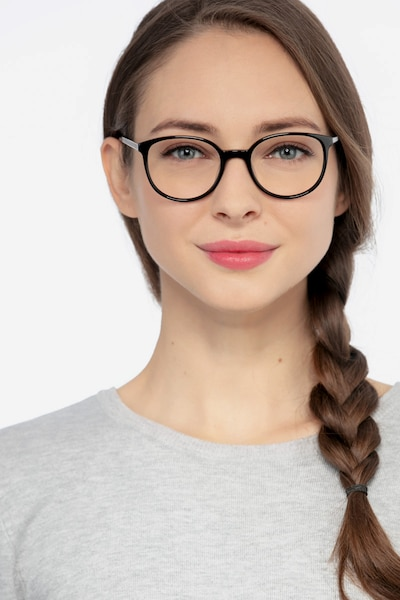 Lucy Black Metal Eyeglass Frames for Women from EyeBuyDirect, Front View