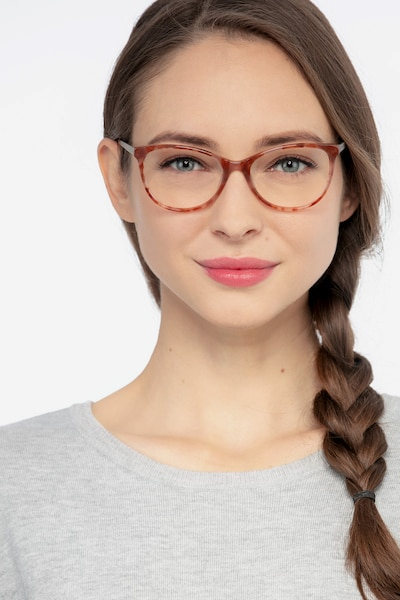 Cat's Meow Brown Floral Acetate Eyeglass Frames for Women from EyeBuyDirect, Front View