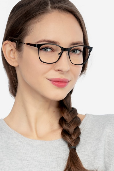 Nightfall Black Acetate Eyeglass Frames for Women from EyeBuyDirect, Front View