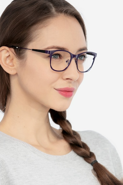 Nightfall Purple Acetate Eyeglass Frames for Women from EyeBuyDirect, Front View