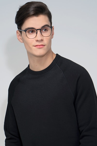 Resonance Black Metal Eyeglass Frames for Men from EyeBuyDirect, Front View