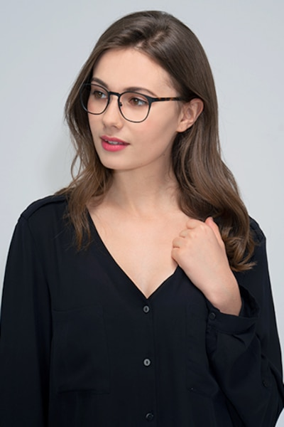 Resonance Black Metal Eyeglass Frames for Women from EyeBuyDirect, Front View