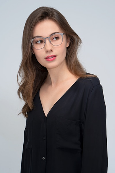 Resonance Gunmetal Acetate Eyeglass Frames for Women from EyeBuyDirect, Front View