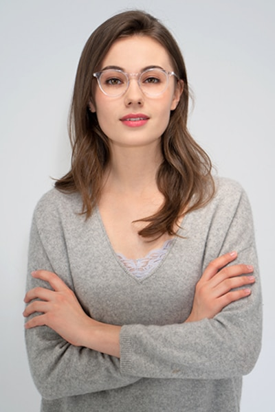 Luminous Clear Acetate Eyeglass Frames for Women from EyeBuyDirect, Front View