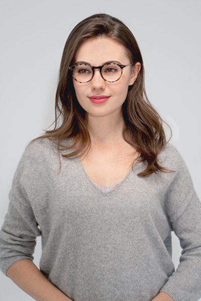 Luminous Tortoise Metal Eyeglass Frames for Women from EyeBuyDirect, Front View
