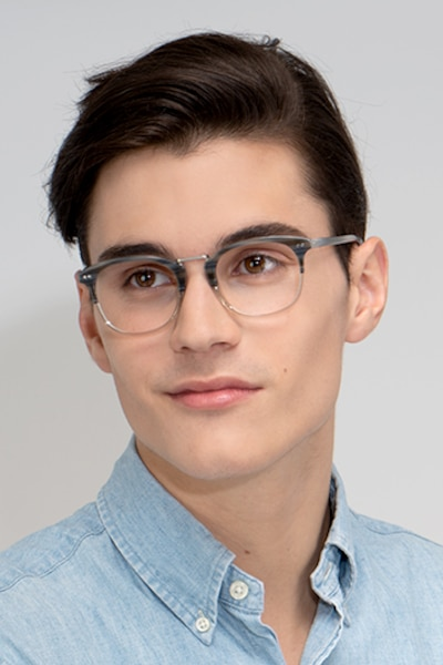 Era Gray Striped Acetate-metal Eyeglass Frames for Men from EyeBuyDirect