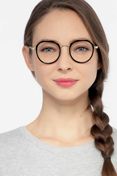 Accent Black Acetate Eyeglass Frames for Women from EyeBuyDirect, Front View