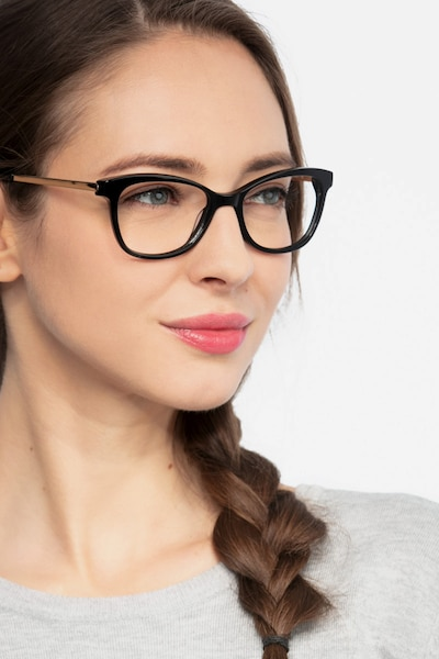 Ripple Black Acetate Eyeglass Frames for Women from EyeBuyDirect, Front View
