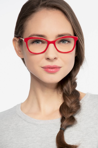 Ripple Red Metal Eyeglass Frames for Women from EyeBuyDirect, Front View