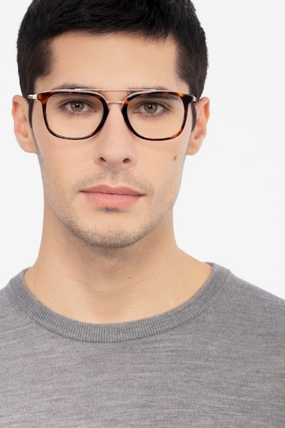 Guild Tortoise Acetate Eyeglass Frames for Men from EyeBuyDirect, Front View