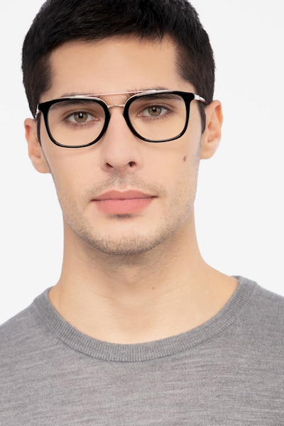 Guild Black Acetate Eyeglass Frames for Men from EyeBuyDirect, Front View