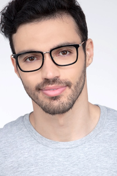 Wayback Black Acetate Eyeglass Frames for Men from EyeBuyDirect, Front View