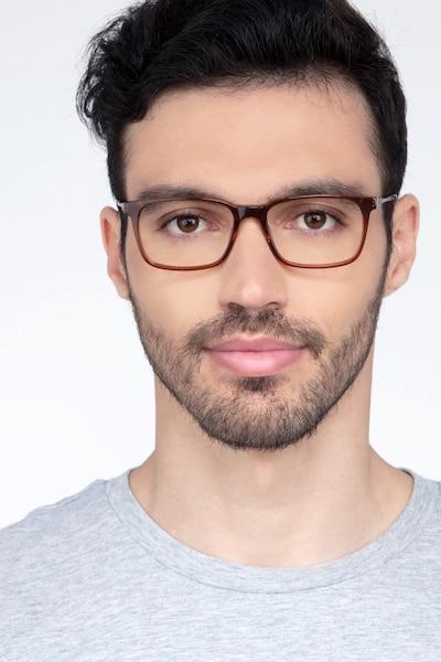 Stanza Marron Acétate Montures de Lunettes pour Hommes d'EyeBuyDirect, Vue de Face