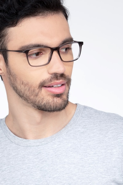 Stanza Gray Acetate Eyeglass Frames for Men from EyeBuyDirect, Front View