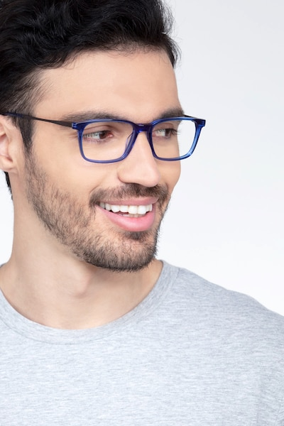 Stanza Blue Acetate Eyeglass Frames for Men from EyeBuyDirect, Front View