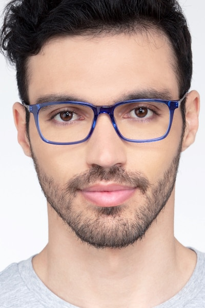 Stanza Blue Acetate Eyeglass Frames for Men from EyeBuyDirect