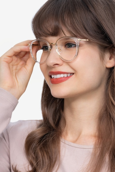 Hollie Clear Plastic-metal Eyeglass Frames for Women from EyeBuyDirect, Front View