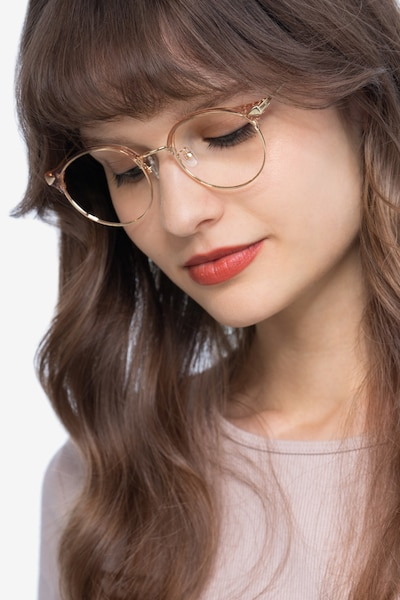 Moon River Clear Pink Plastic-metal Eyeglass Frames for Women from EyeBuyDirect, Front View