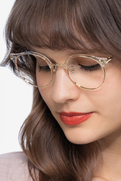 Moon River Clear Metal Eyeglass Frames for Women from EyeBuyDirect