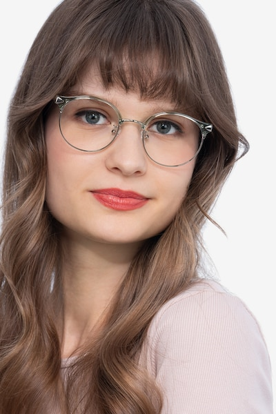 Moon River Clear Green Plastic-metal Eyeglass Frames for Women from EyeBuyDirect, Front View