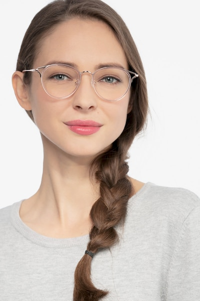 Dazzle Pink Metal Eyeglass Frames for Women from EyeBuyDirect, Front View