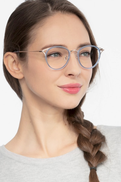 Dazzle Blue Metal Eyeglass Frames for Women from EyeBuyDirect, Front View