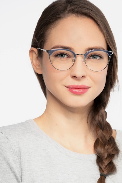 Bouquet Blue Silver Acetate Eyeglass Frames for Women from EyeBuyDirect, Front View