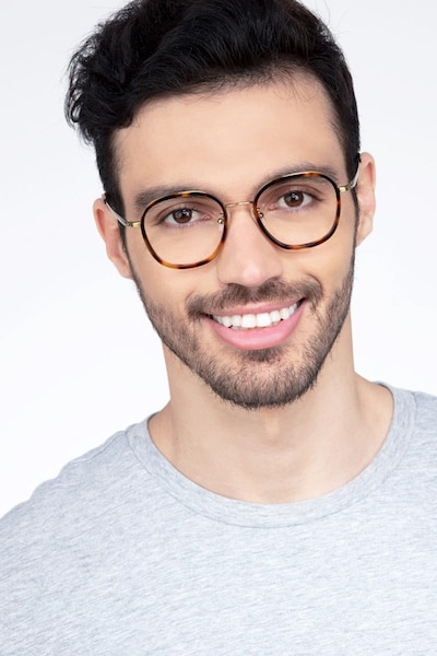 Beyond  Tortoise Metal Eyeglass Frames for Men from EyeBuyDirect