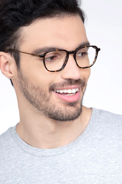 The Fan Tortoise Acetate Eyeglass Frames for Men from EyeBuyDirect, Front View