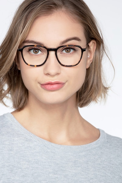 The Fan Tortoise Acetate Eyeglass Frames for Women from EyeBuyDirect, Front View
