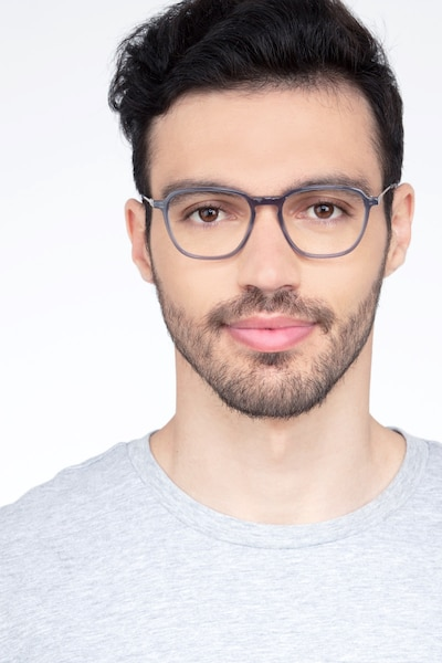 The Fan Gray Acetate Eyeglass Frames for Men from EyeBuyDirect, Front View