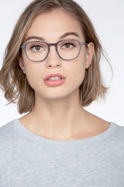 The Fan Gray Acetate Eyeglass Frames for Women from EyeBuyDirect, Front View
