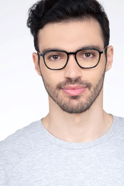 The Fan Black Acetate Eyeglass Frames for Men from EyeBuyDirect, Front View