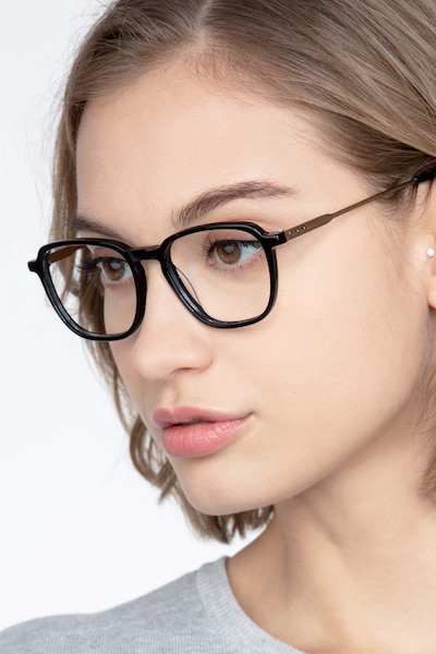 The Fan Black Acetate Eyeglass Frames for Women from EyeBuyDirect