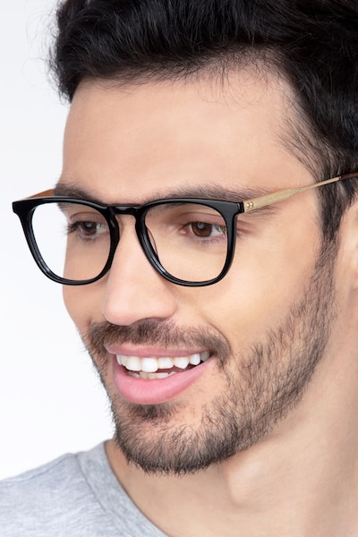 Vinyl Black Acetate Eyeglass Frames for Men from EyeBuyDirect