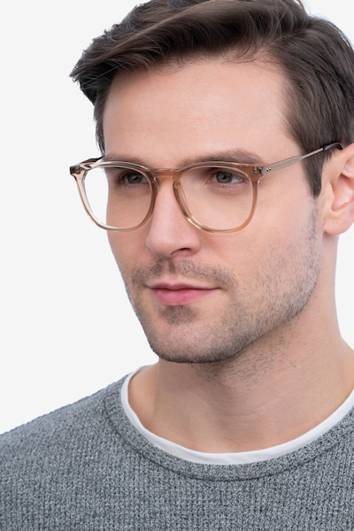 Vinyl Clear Brown Acetate-metal Eyeglass Frames for Men from EyeBuyDirect, Front View