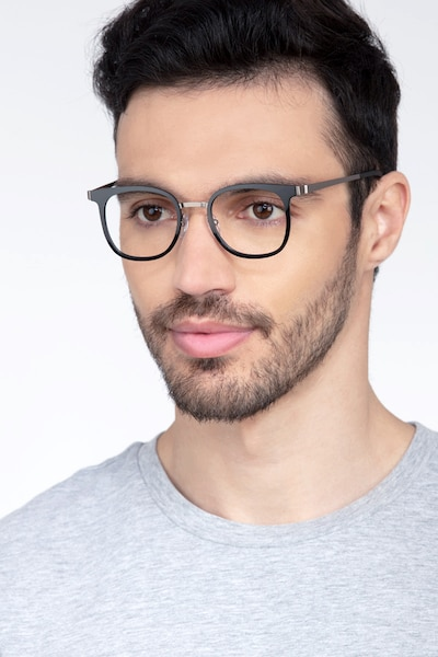 Rotem Black Metal Eyeglass Frames for Men from EyeBuyDirect, Front View
