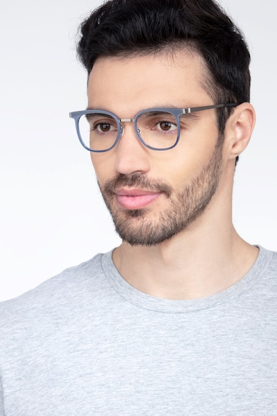 Rotem Navy Metal Eyeglass Frames for Men from EyeBuyDirect, Front View