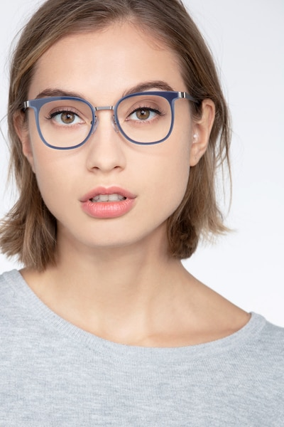 Rotem Navy Metal Eyeglass Frames for Women from EyeBuyDirect, Front View