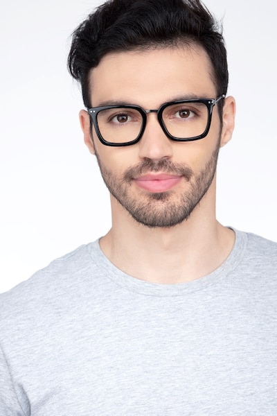 Poise Black Metal Eyeglass Frames for Men from EyeBuyDirect, Front View