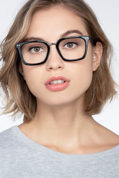 Poise Black Metal Eyeglass Frames for Women from EyeBuyDirect, Front View